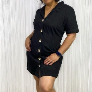 ASOS DENIM Black Denim Shirt Dress 12US UK16